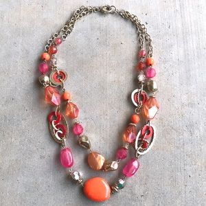 Jewelry - Chunky Double Layered Necklace Orange Pink Gold